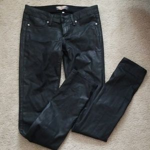 Paige peg skinny black coated jeans (preown)